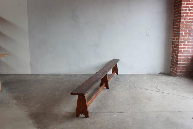 Long Rustic Bench with Middle Leg For Sale 1