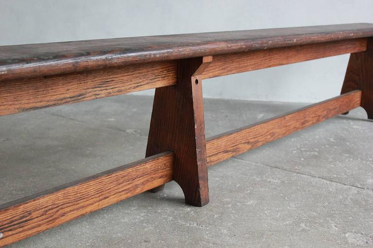 Long Rustic Bench with Middle Leg For Sale 3