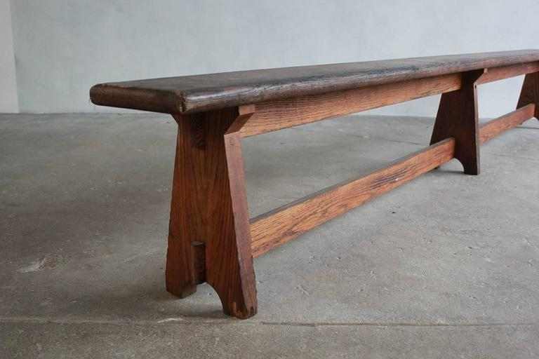 Long Rustic Bench with Middle Leg For Sale 4