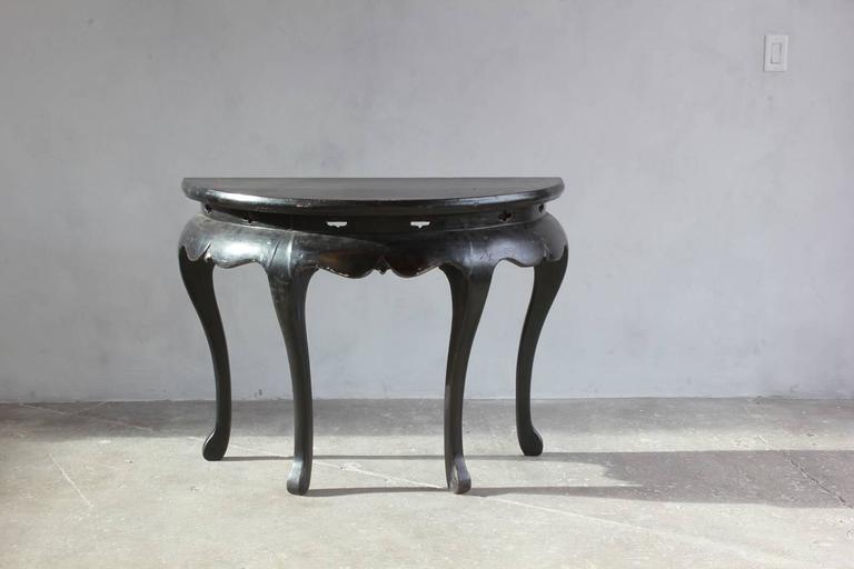 Black Lacquered British Four Legged Demilune For Sale 2