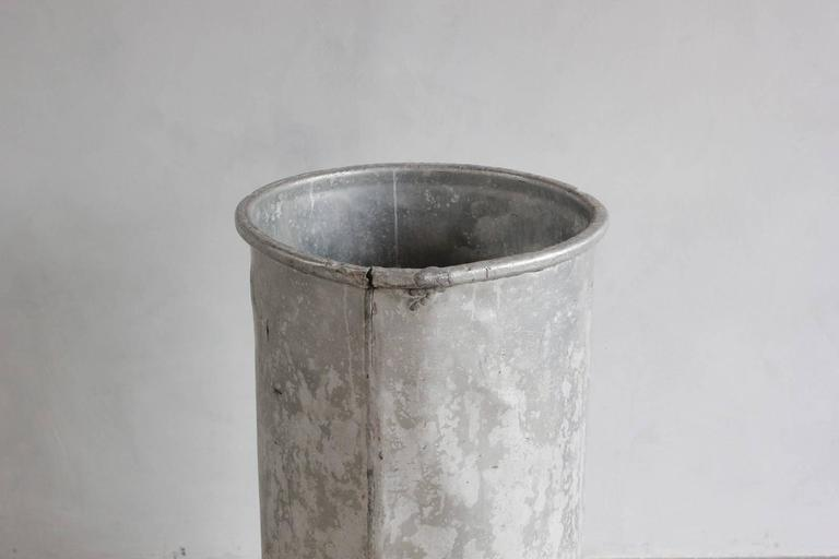 Tall Galvanized Bin In Distressed Condition For Sale In Los Angeles, CA