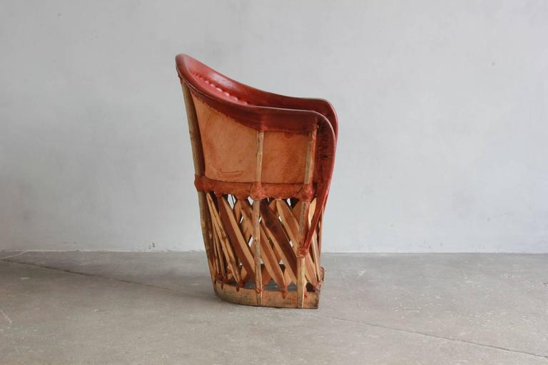 Set Of Four Mexican Equipale Wood And Leather Chairs At