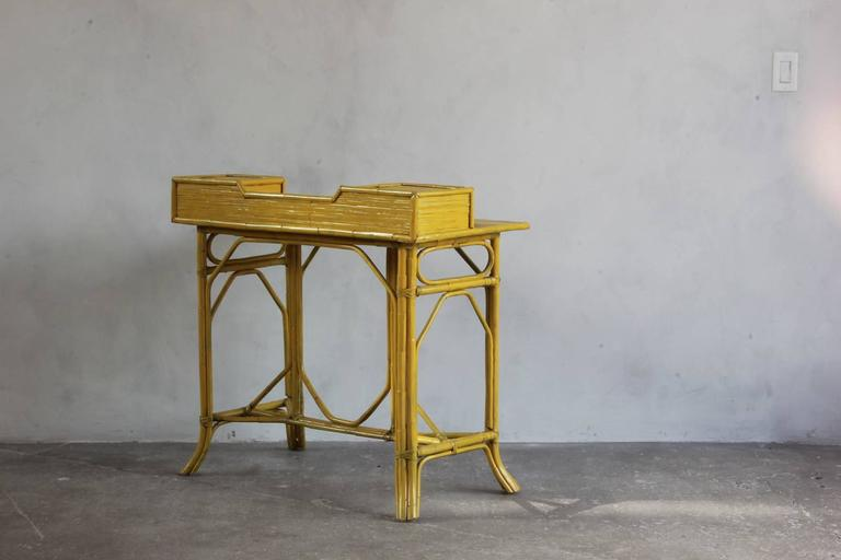Yellow Painted Bamboo Writing Desk For Sale 3