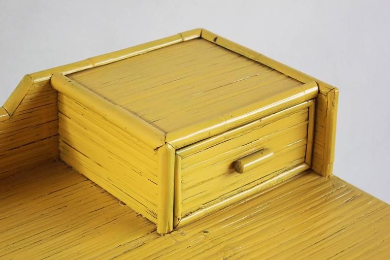 Yellow Painted Bamboo Writing Desk 3