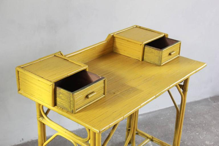 Mid-20th Century Yellow Painted Bamboo Writing Desk For Sale