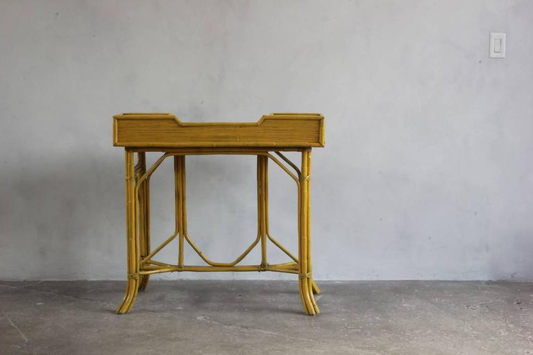Yellow Painted Bamboo Writing Desk 5