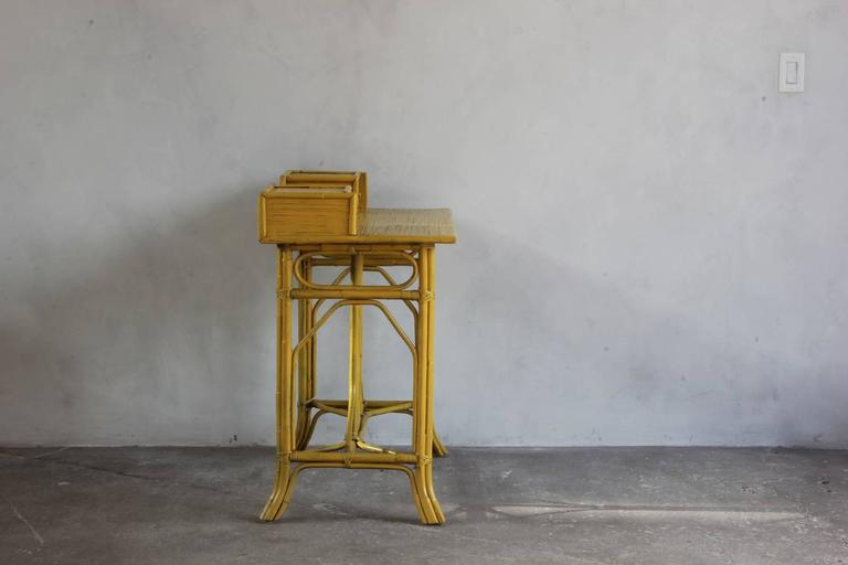 Yellow Painted Bamboo Writing Desk 6