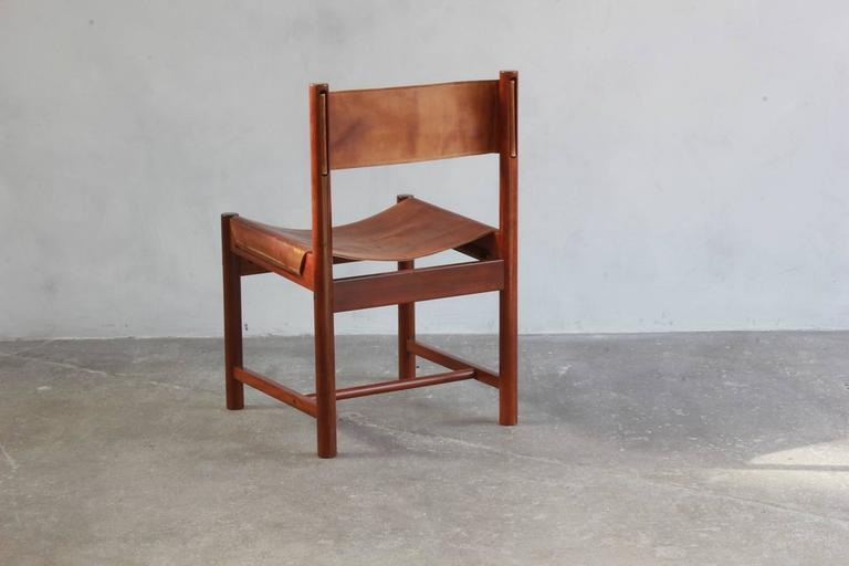 Set of Four Leather and Wood Michel Arnoult Dining Chairs 3