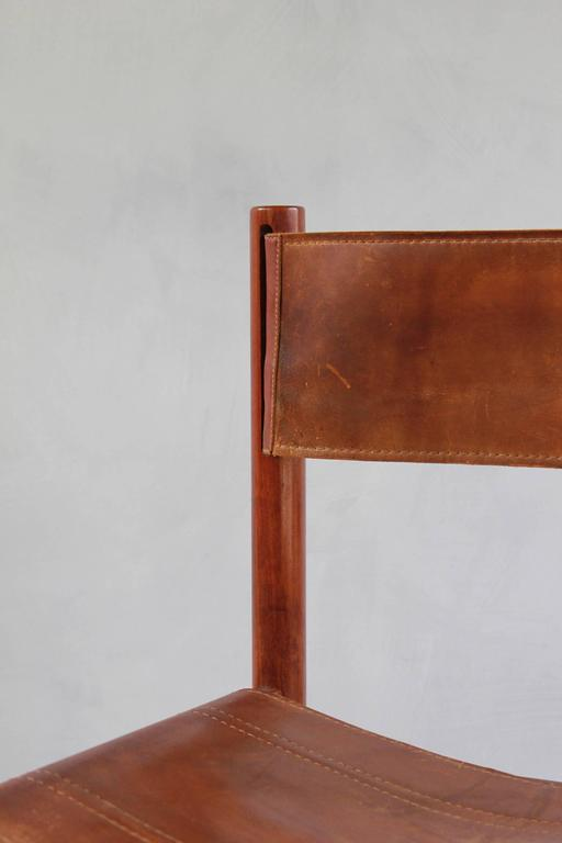 Set of Four Leather and Wood Michel Arnoult Dining Chairs 8