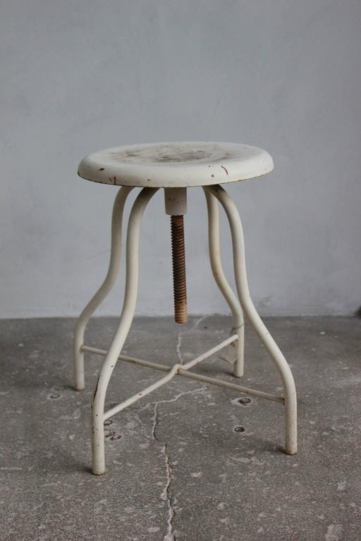 Mid-20th Century White Painted Wood and Metal Swivel Stools For Sale