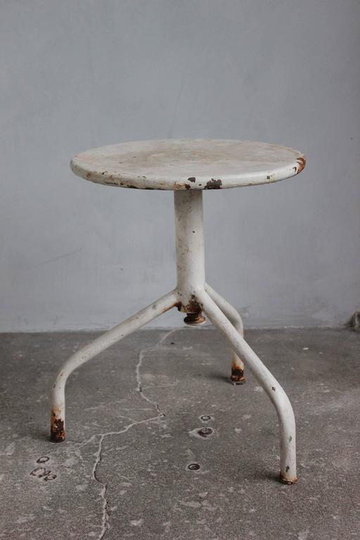 White Painted Wood and Metal Swivel Stools For Sale 1