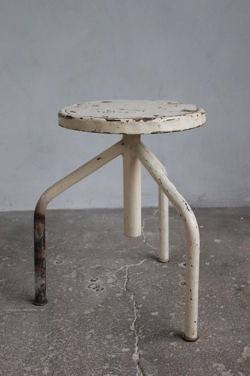 White Painted Wood and Metal Swivel Stools For Sale 2