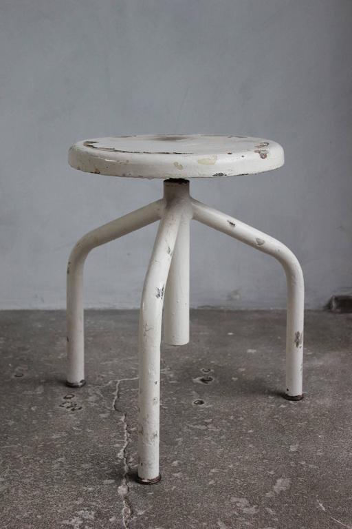 White Painted Wood and Metal Swivel Stools For Sale 3