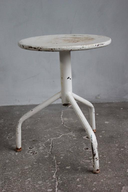 White Painted Wood and Metal Swivel Stools For Sale 4