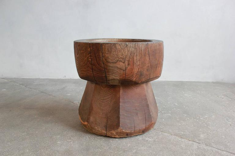 Large Solid Wood Mortar In Distressed Condition For Sale In Los Angeles, CA