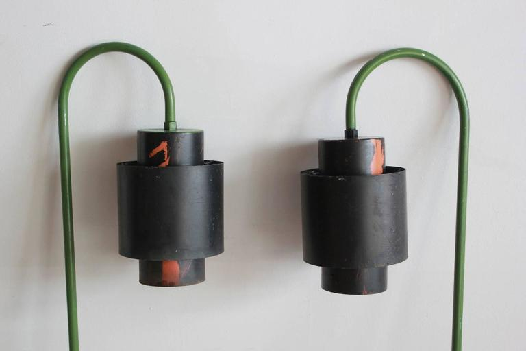 Pair of over Arching Green and Black Painted Metal Outdoor Lanterns 2