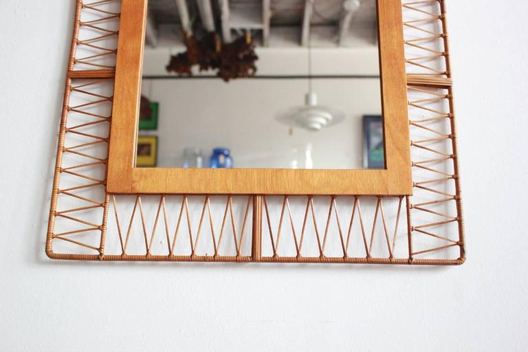 Mid-20th Century French Rectangular Mirror with Unique Rattan Pattern For Sale