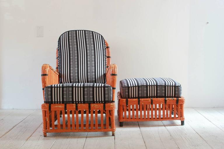 Pair of Orange and Black Garden Chairs Upholstered in Black and White Fabric 7