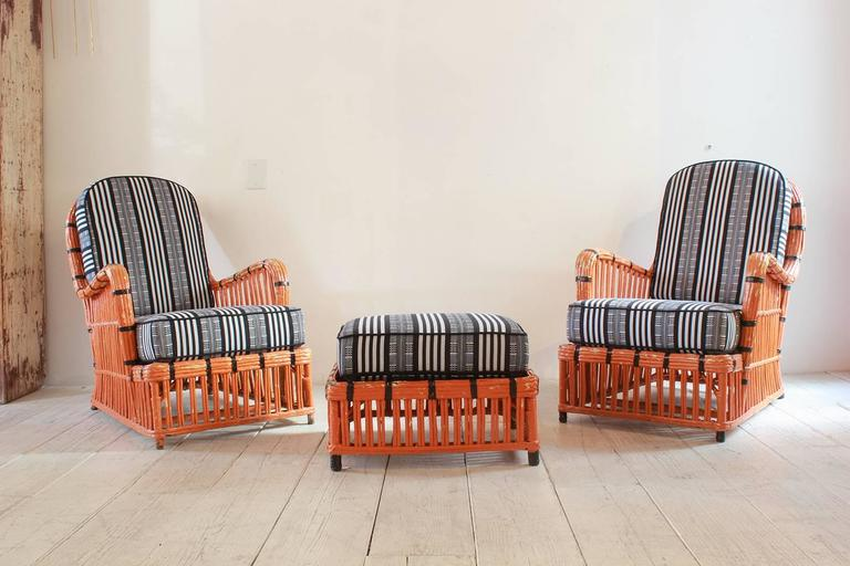 Pair of Orange and Black Garden Chairs Upholstered in Black and White Fabric 8