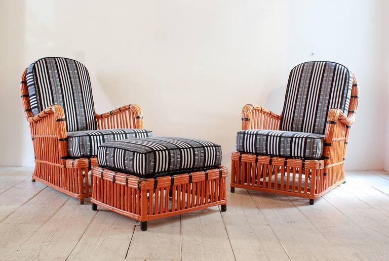 Pair of Orange and Black Garden Chairs Upholstered in Black and White Fabric 2