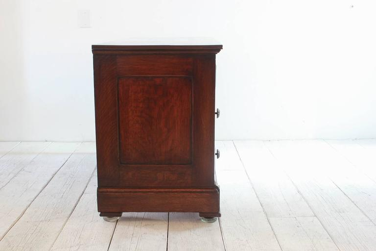 Early American Mahogany Stained Four Dresser with Brass Details In Distressed Condition For Sale In Los Angeles, CA