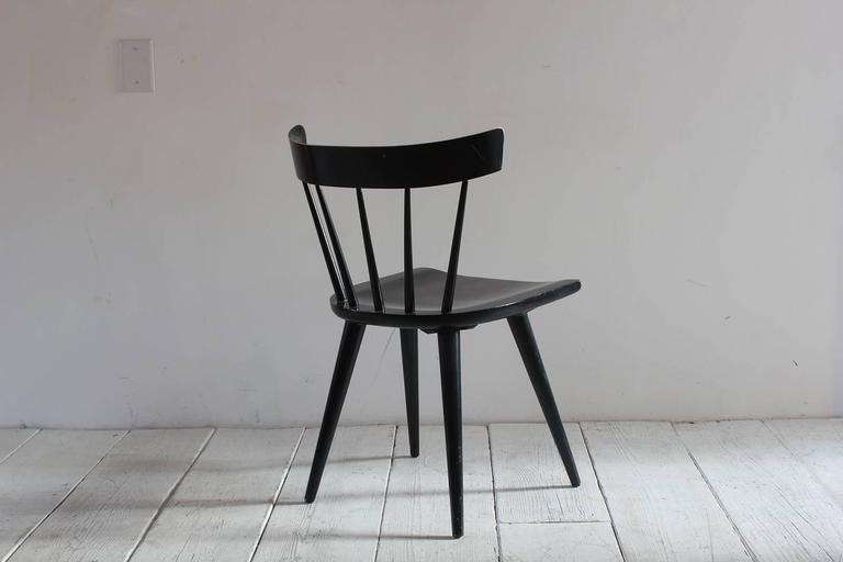 Mid-Century Modern Paul McCobb Black Painted Spindle Chair For Sale