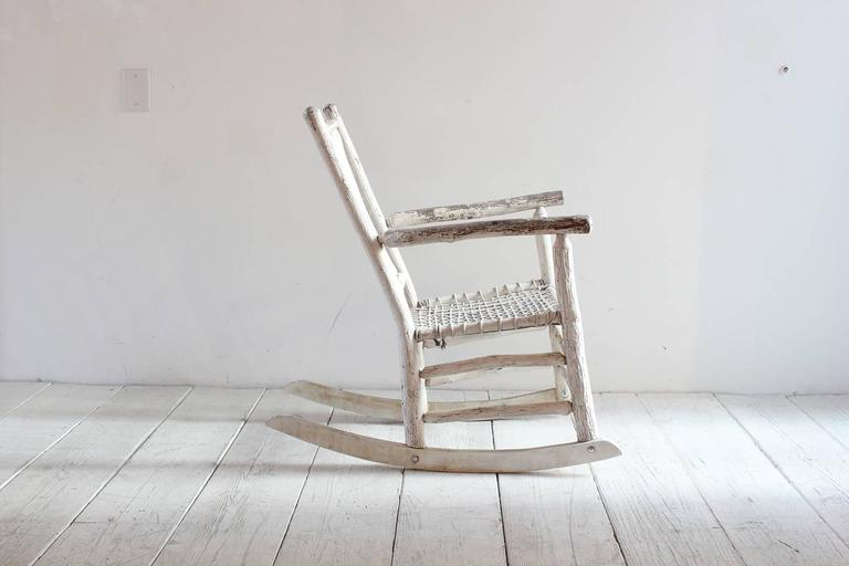 Mid-20th Century Wood Painted Rocking Chair with Rope Seat For Sale