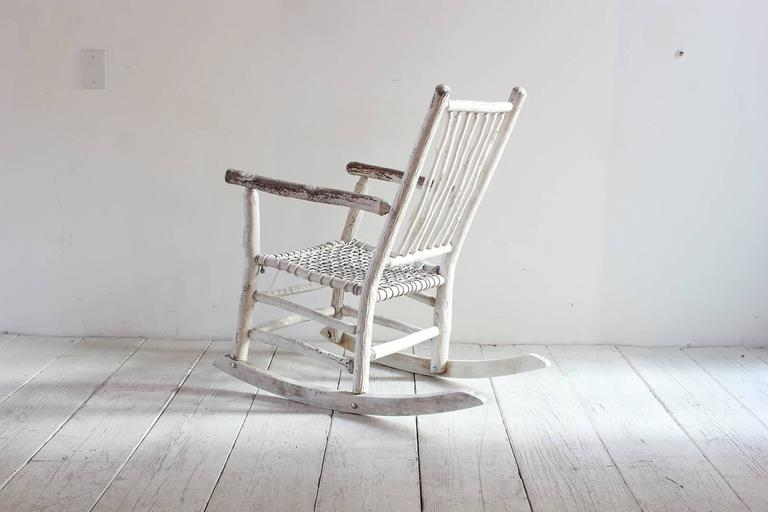 Wood Painted Rocking Chair with Rope Seat In Distressed Condition For Sale In Los Angeles, CA