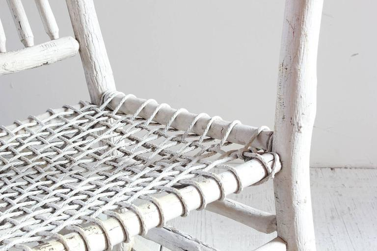 Wood Painted Rocking Chair with Rope Seat For Sale 1