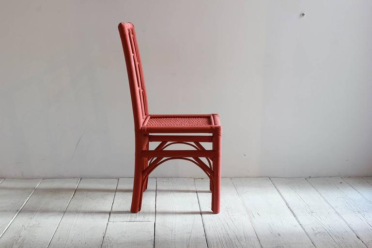 Rust Colored Hand-Painted Side Chair with Woven Seat from Morocco In Excellent Condition For Sale In Los Angeles, CA