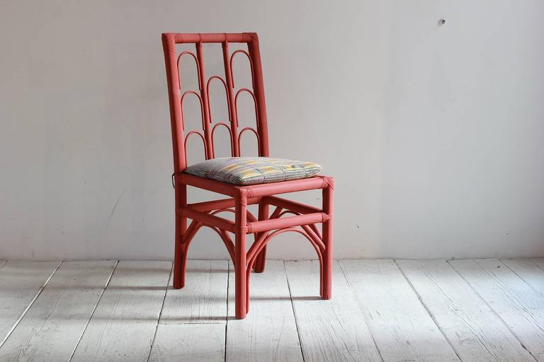Rust Colored Hand-Painted Side Chair with Woven Seat from Morocco For Sale 2