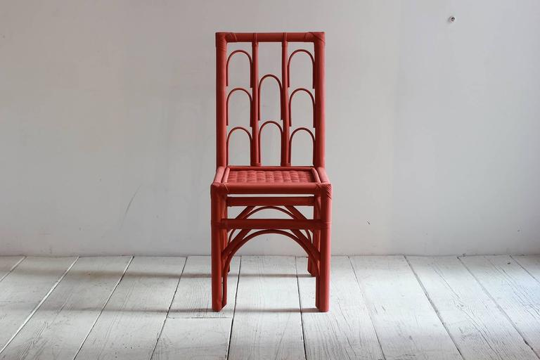 Rust Colored Hand-Painted Side Chair with Woven Seat from Morocco 2