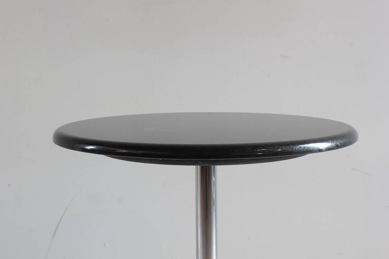 Pair of Side Tables with a Marble Top and Pedestal Chrome X-Base 2