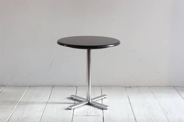 Pair of Side Tables with a Marble Top and Pedestal Chrome X-Base 4