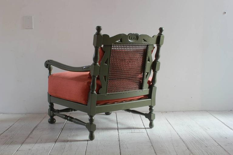 Pair of Green Painted Ornate Wood Framed Armchairs 4