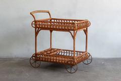 Wicker Bar Cart with Metal Wheels