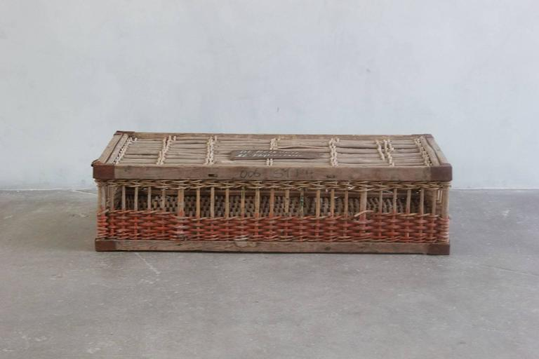 Woven Pigeon Crate with Green White and Orange Painted Details In Excellent Condition For Sale In Los Angeles, CA