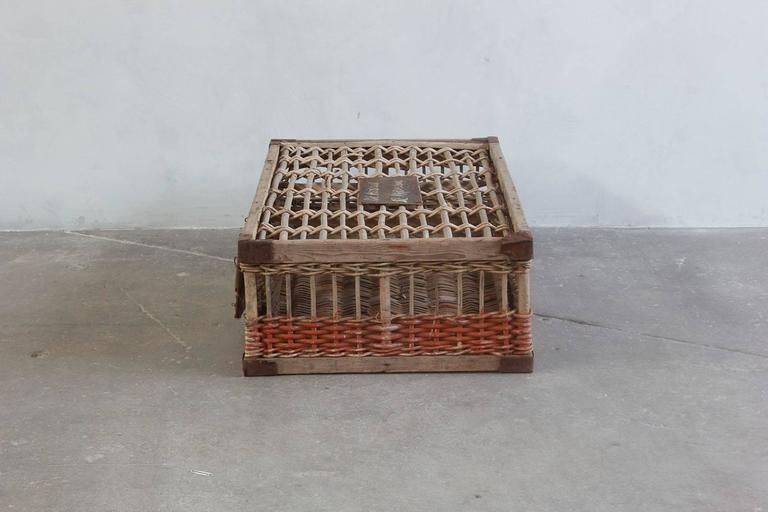 Late 19th Century Woven Pigeon Crate with Green White and Orange Painted Details For Sale