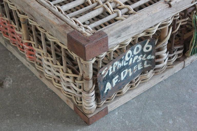 Woven Pigeon Crate with Green White and Orange Painted Details For Sale 2