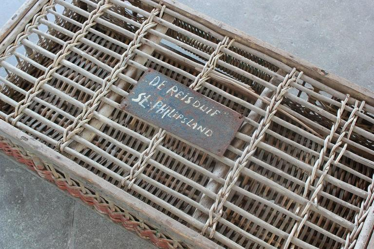 Woven Pigeon Crate with Green White and Orange Painted Details For Sale 3
