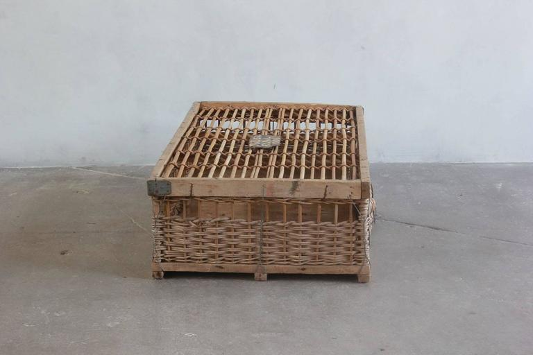 Woven pigeon crate with painted and metal details.
