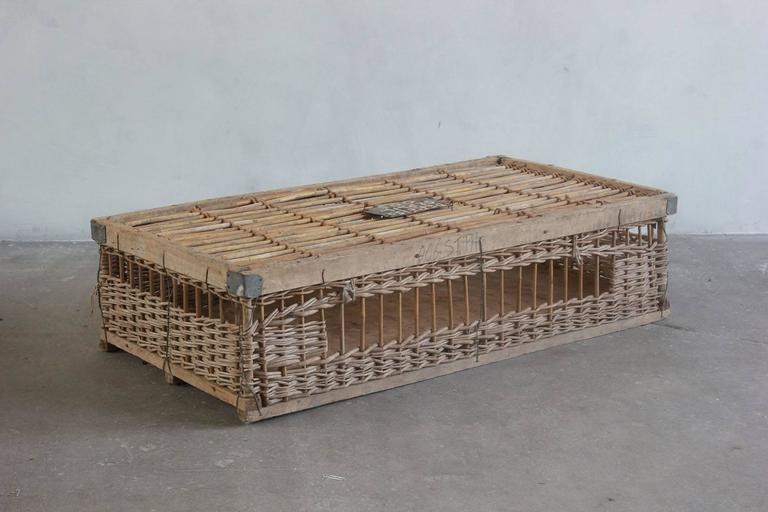 Woven Pigeon Crate with Painted and Metal Details In Distressed Condition For Sale In Los Angeles, CA