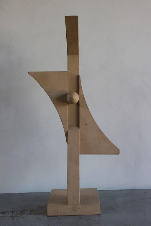 Mid-20th Century Painted Wooden Cubist Bird Sculpture For Sale