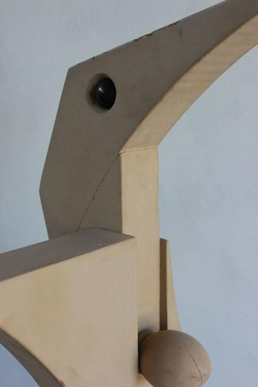 Painted Wooden Cubist Bird Sculpture For Sale 2
