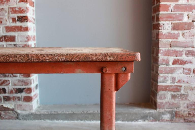 Red Work Table with Rusted Pattina 3