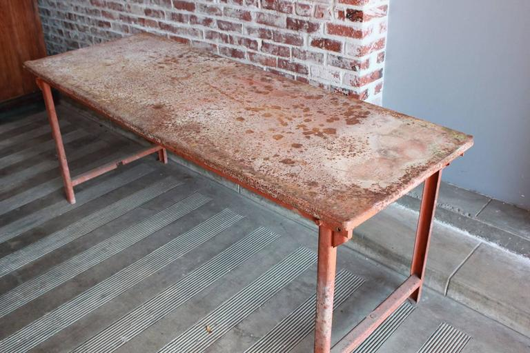 Red Work Table with Rusted Pattina 4