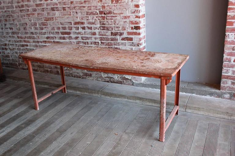 Red Work Table with Rusted Pattina 2