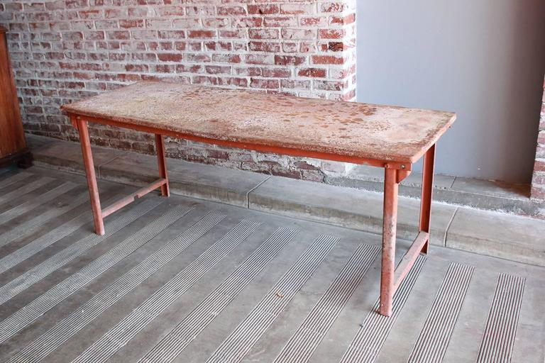 Red Work Table with Rusted Pattina 7
