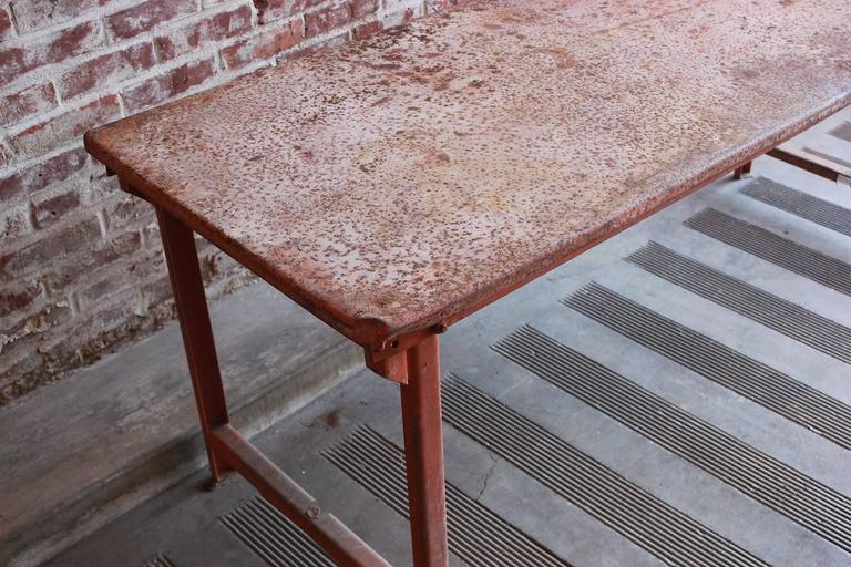 Red Work Table with Rusted Pattina 6