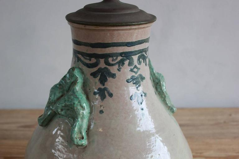 Pair of Ceramic Lamps with Celadon Glazed Embellishments and Blue Details For Sale 1